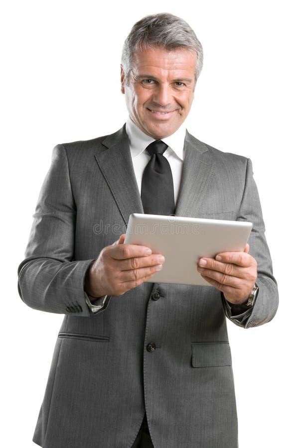 Biznesmen z cyfrową pastylką zdjęcie stock