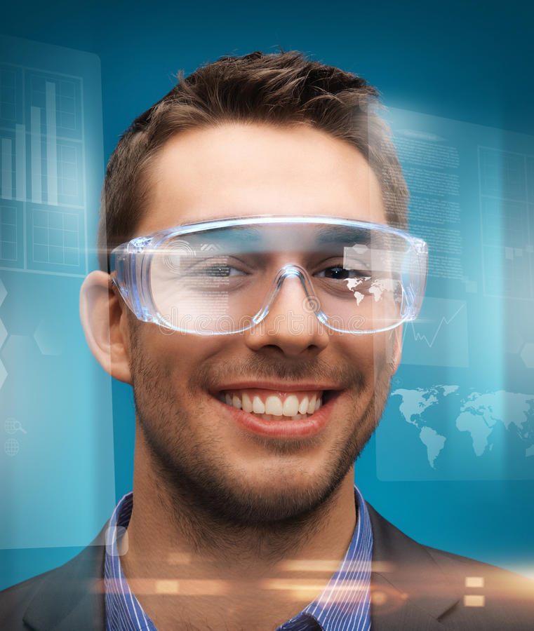 Biznesmen z cyfrowymi szkłami obraz stock