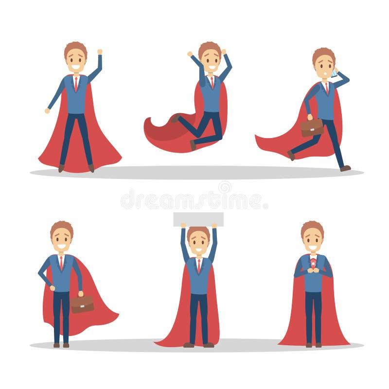Biznesmen z czerwonym bohater peleryny setem royalty ilustracja