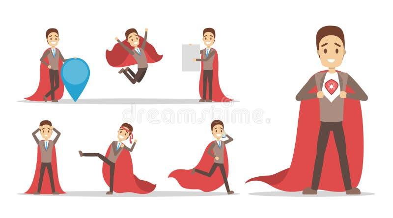 Biznesmen z czerwonym bohater peleryny setem ilustracji