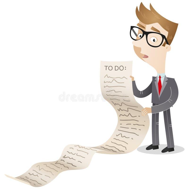 Biznesmen z długim spisuje royalty ilustracja