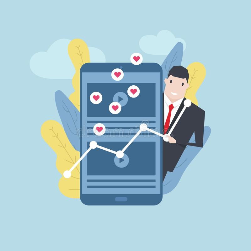Biznesmen z faworyt zawartością na telefonie komórkowym ilustracji