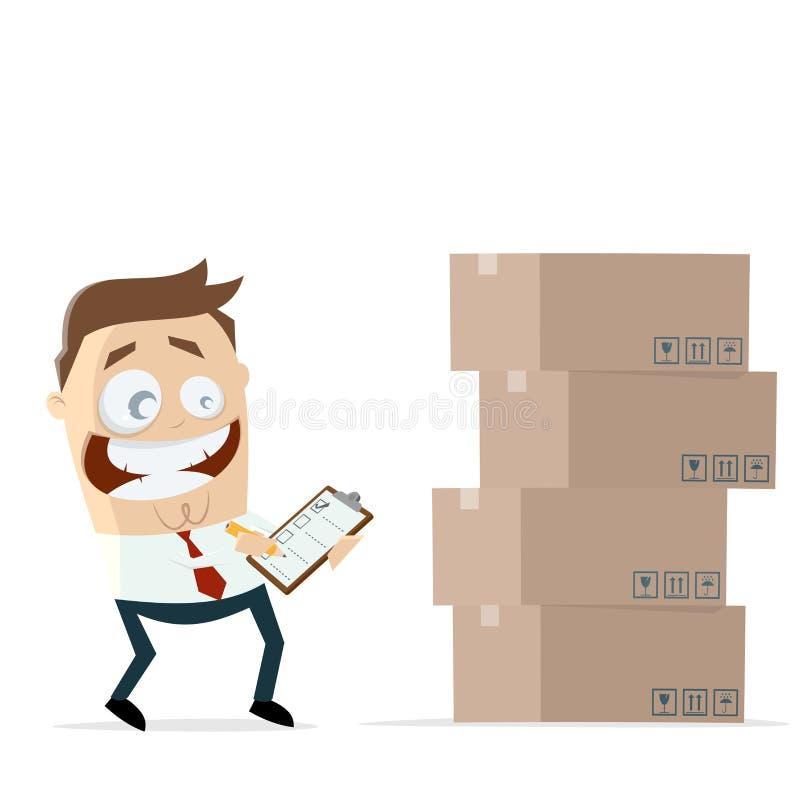 Biznesmen z inwentarz listą kontrolną i pudełkami royalty ilustracja