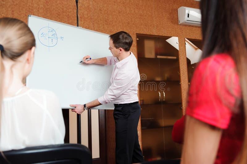 Biznesmen z jej personelem, ludzie grupy w tle przy nowożytnym jaskrawym biurem indoors, obrazy stock