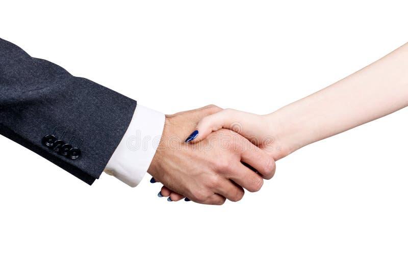 Biznesmen z kobiety chwiania rękami obraz royalty free