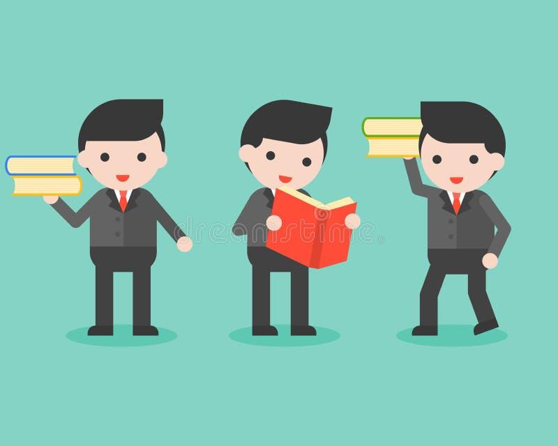 Biznesmen z książką, biznesowy charakter przygotowywający używać mądrość co ilustracji