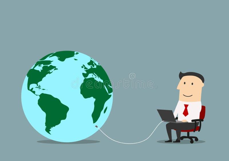 Biznesmen z laptopem łączącym kula ziemska royalty ilustracja