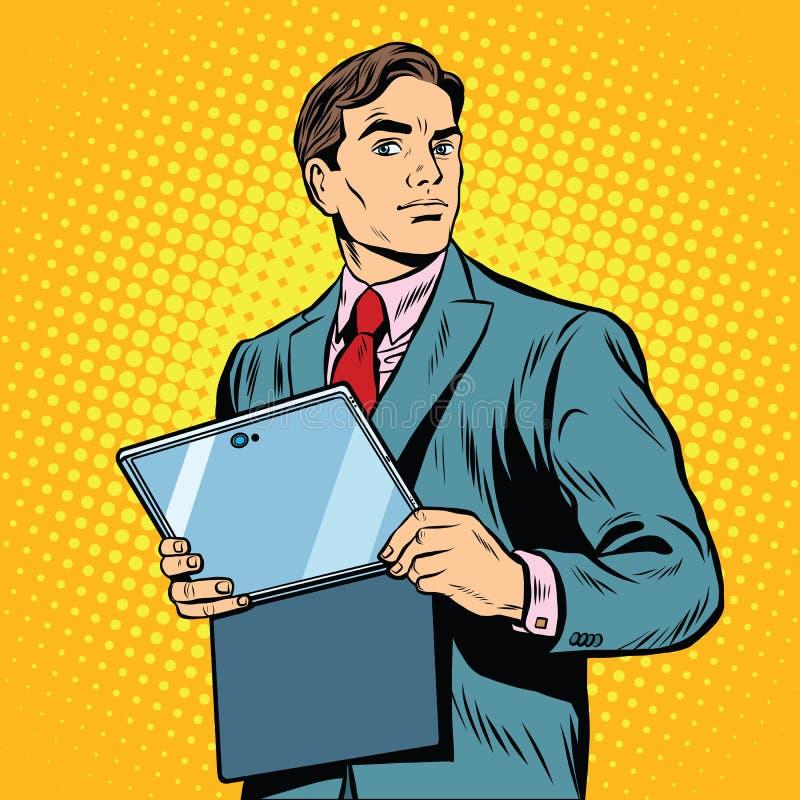 Biznesmen z laptopem lub pastylką royalty ilustracja