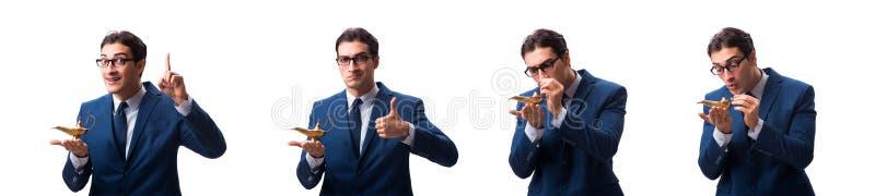 Biznesmen z magiczną lampą odizolowywającą na bielu zdjęcie stock