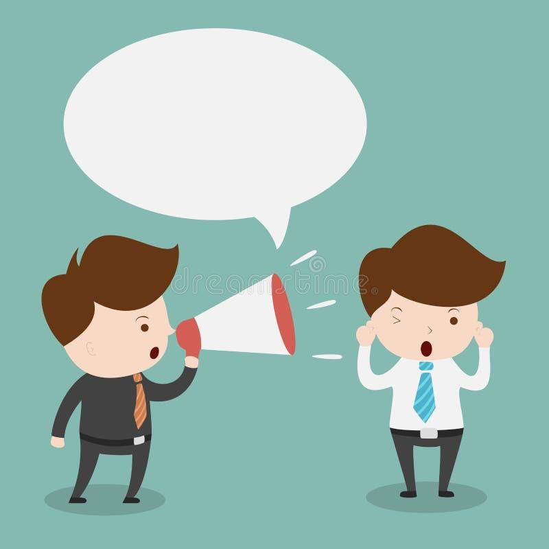 Biznesmen z megafonem i bąbel mową ilustracja wektor