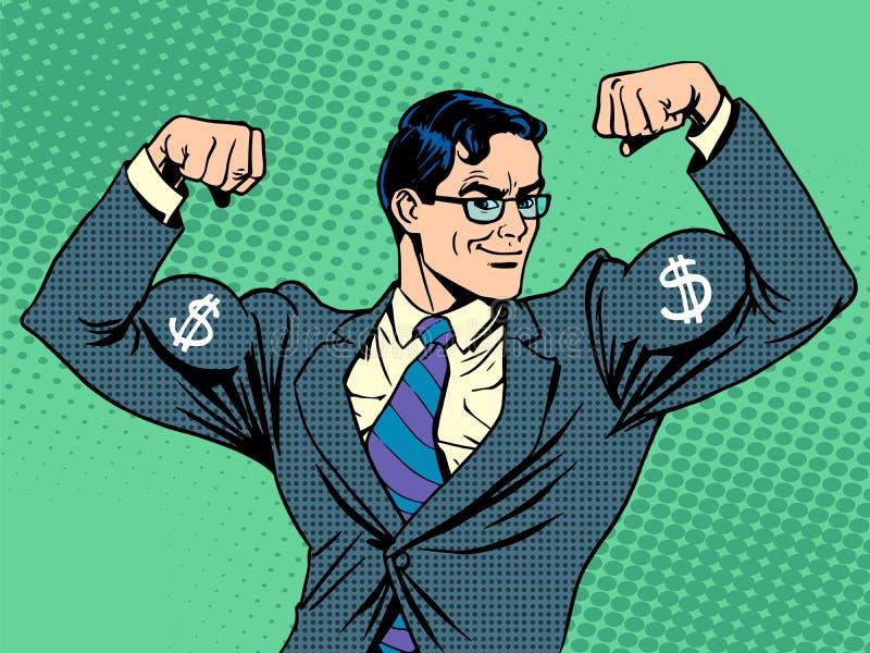 Biznesmen z mięsień waluty dolarem ilustracja wektor