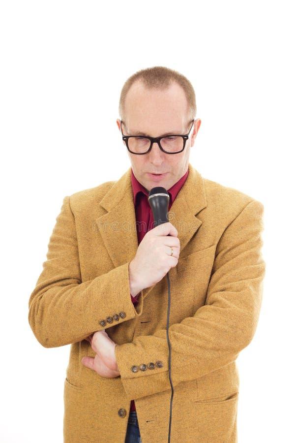 Biznesmen z mikrofonem obraz royalty free