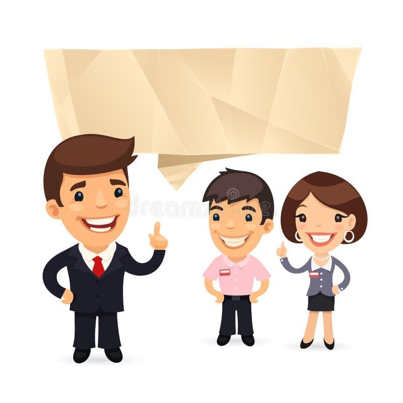 biznesmen z mowa bąblem ilustracja wektor