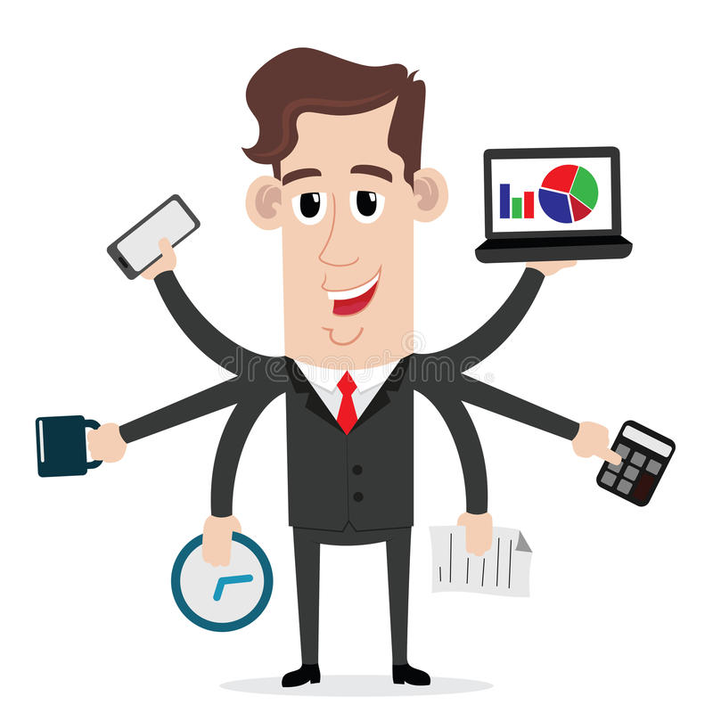 Biznesmen z multitasking i wielo- umiejętnościami royalty ilustracja