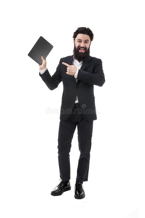 Biznesmen z pastylk? zdjęcie stock
