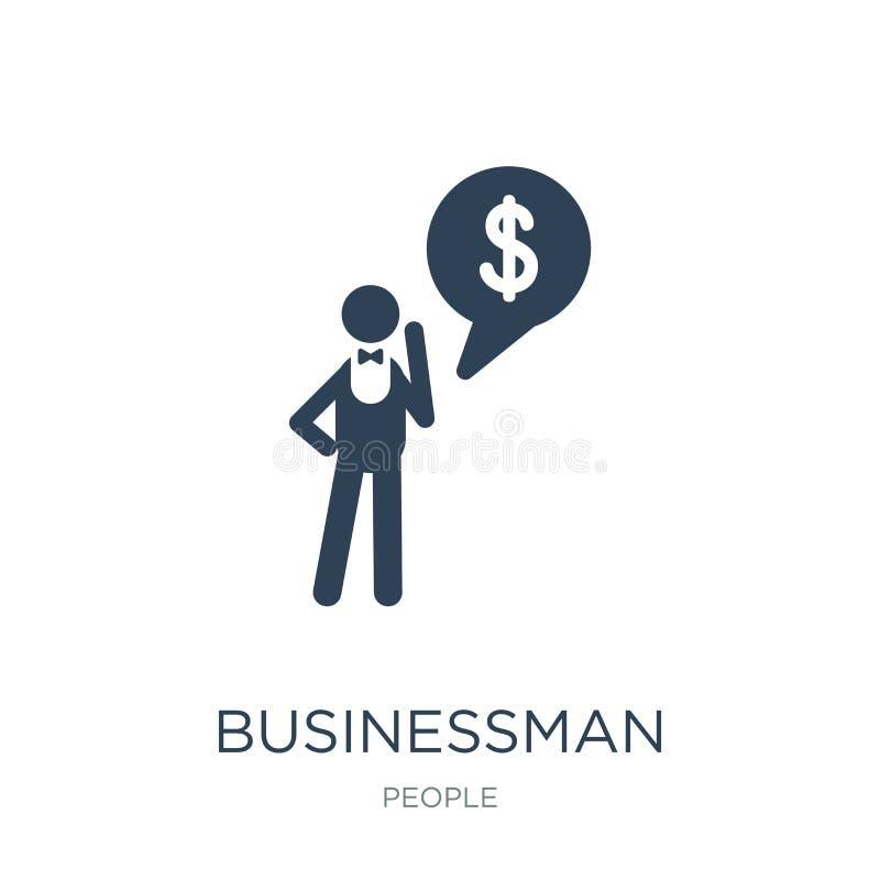 biznesmen z pieniężną wiadomością o dolarowej ikonie w modnym projekta stylu biznesmen z pieniężną wiadomością o dolarowej ikonie ilustracja wektor