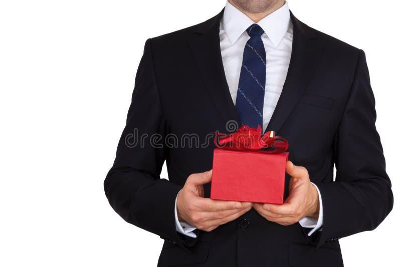 Biznesmen z prezentem zdjęcie royalty free