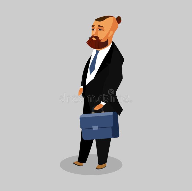 Biznesmen z skrzynki Płaską Wektorową ilustracją ilustracja wektor