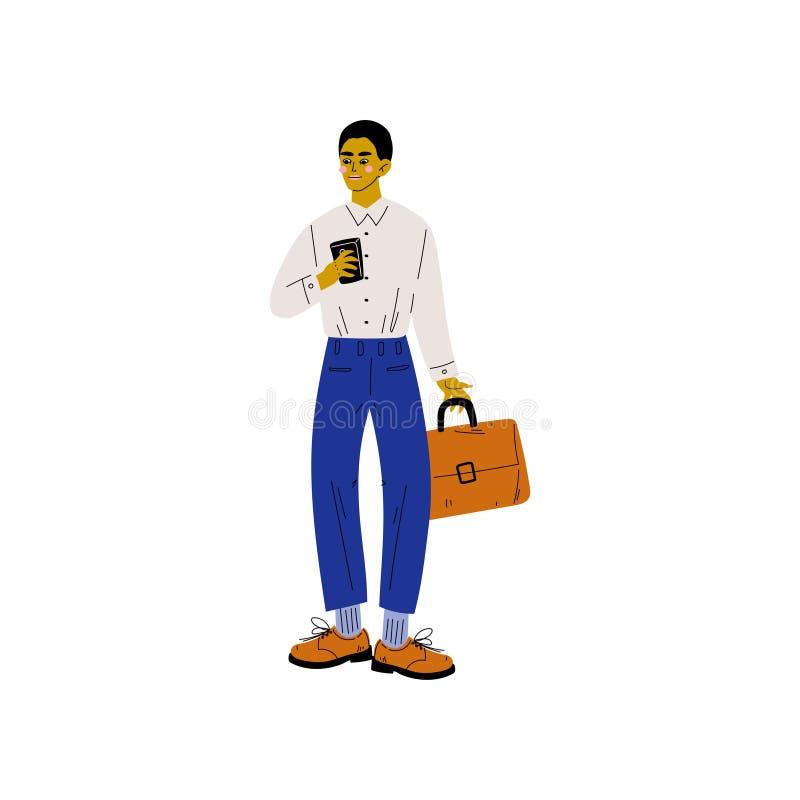 Biznesmen z Smartphone, Modny młody człowiek z Elektroniczną gadżetu wektoru ilustracją royalty ilustracja