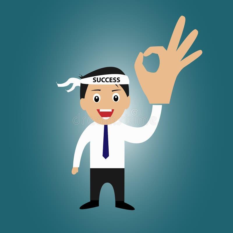 Biznesmen z sukcesu kierowniczym zespołem i ok podpisujemy ilustracja wektor