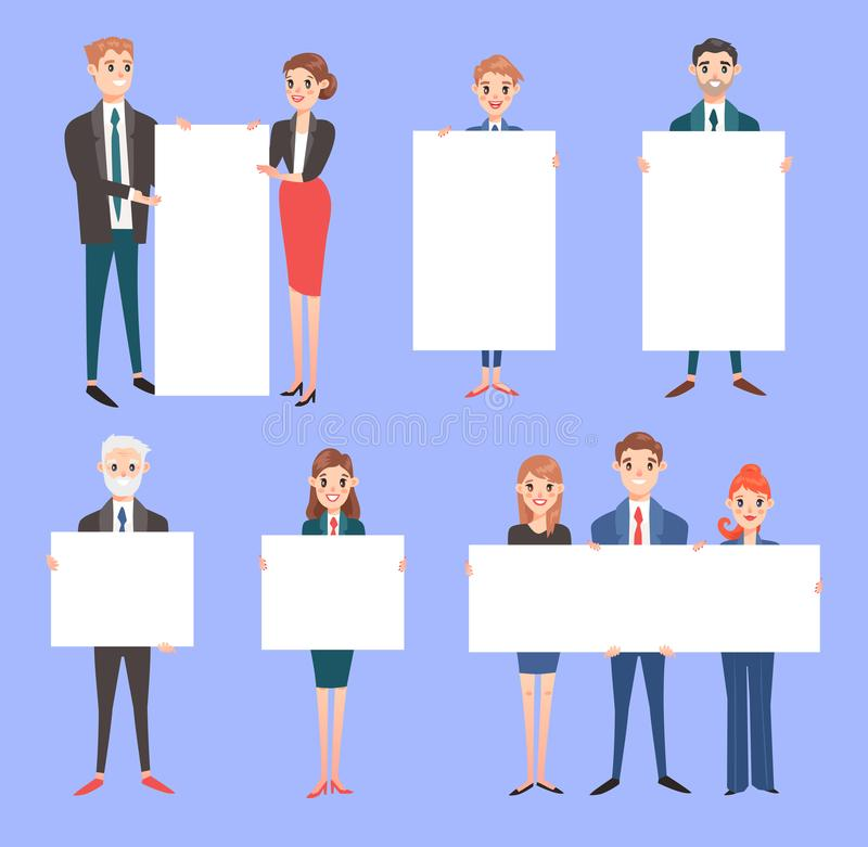 Biznesmen z sztandarów wektorowymi ludźmi biznesu trzyma pustego sztandar odizolowywający na tle Biznesowi drużyny kobiety ludzie ilustracji