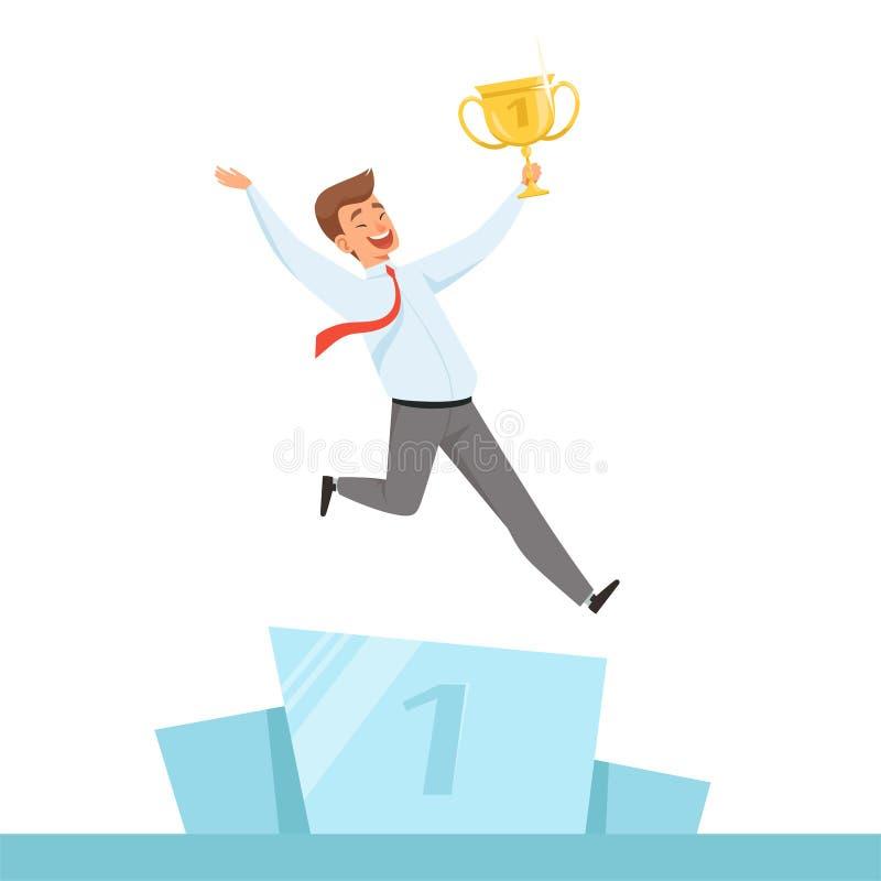 Biznesmen z trofeum Kierownik szczęśliwy z złotą trofeum filiżanką w rękach dla biznesowego zwycięzcy wektorowego charakteru odiz ilustracji