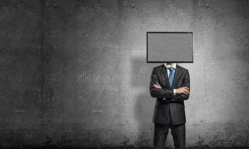Biznesmen z TV zamiast głowy zdjęcie royalty free