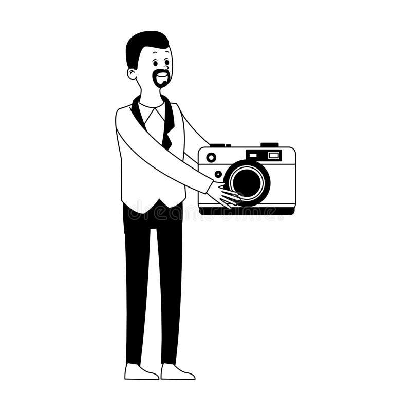 Biznesmen z wideo symbolem w czarny i biały royalty ilustracja