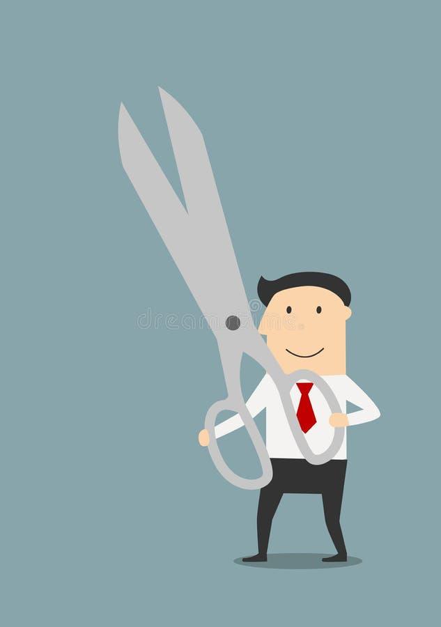 Biznesmen z wielką parą ostrzy nożyce ilustracja wektor