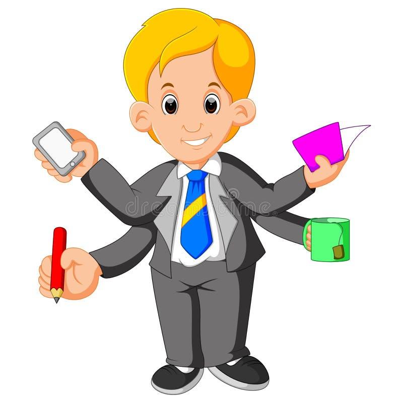 Biznesmen z wielo- dawać zadanie i wielo- umiejętnością ilustracji