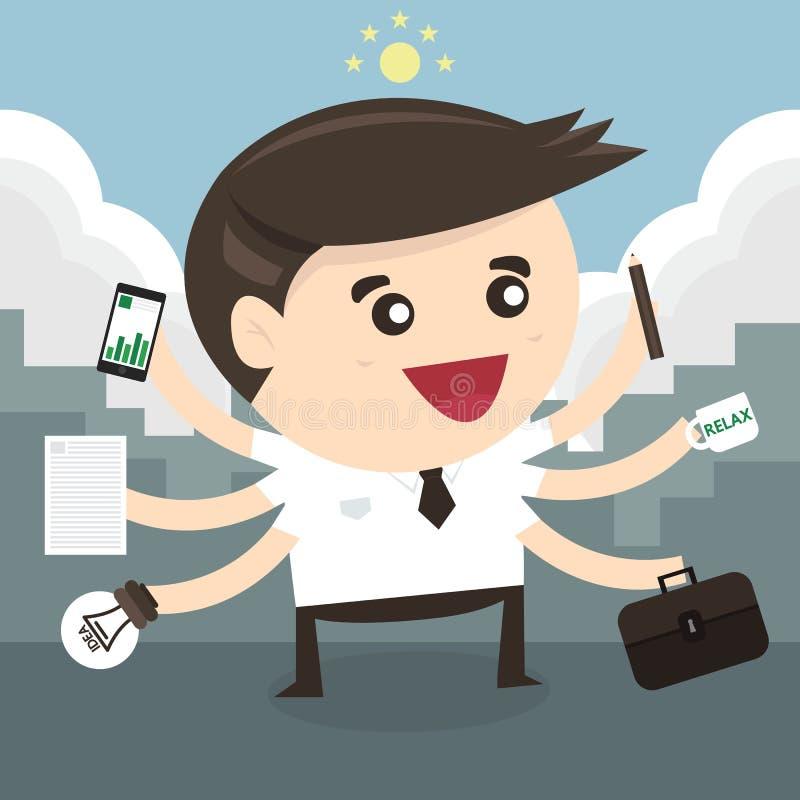 Biznesmen z wielo- dawać zadanie i wielo- umiejętnością royalty ilustracja