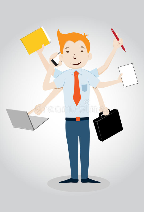 Biznesmen z wielo- umiejętnością ilustracji