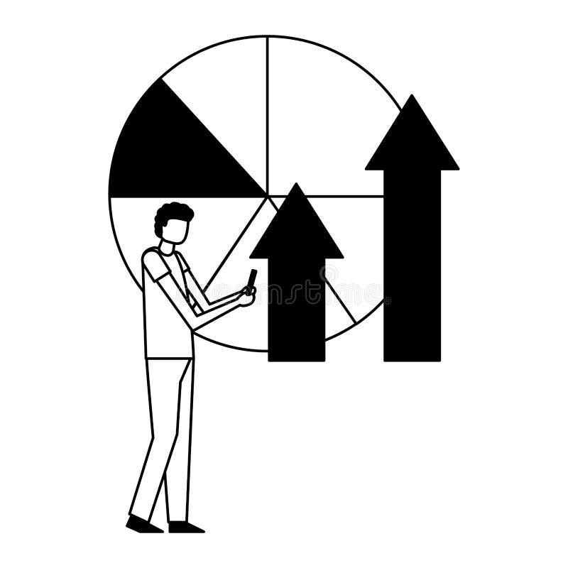 Biznesmen z wiszącą ozdobą i statystyki strzałkowatą mapą ilustracji