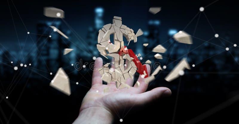 Biznesmen z wybuchać dolarowego waluty 3D rendering royalty ilustracja