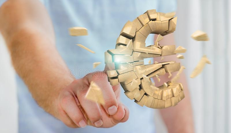 Biznesmen z wybuchać euro waluty 3D rendering ilustracja wektor