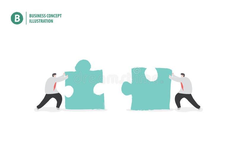 Biznesmen z wyrzynarki łamigłówki znaczenia pracą zespołową lub współpracą ilustracji