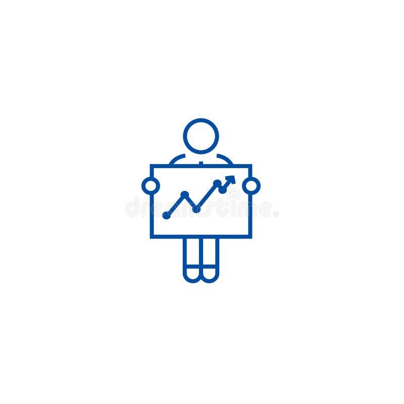 Biznesmen z wzrostowym wykres linii ikony pojęciem Biznesmen z wzrostowego wykresu płaskim wektorowym symbolem, znak, kontur royalty ilustracja