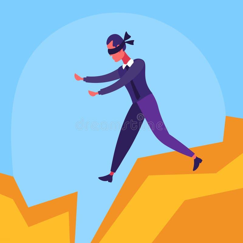 Biznesmen z zasłoniętymi oczami chodząca bezdenność między góra kryzysu ryzyka pojęcia mężczyzna postać z kreskówki mieszkaniem ilustracji