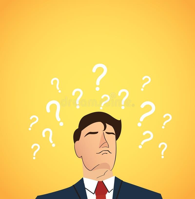 Biznesmen z znakiem zapytania robi decyzi pojęciu ilustracji