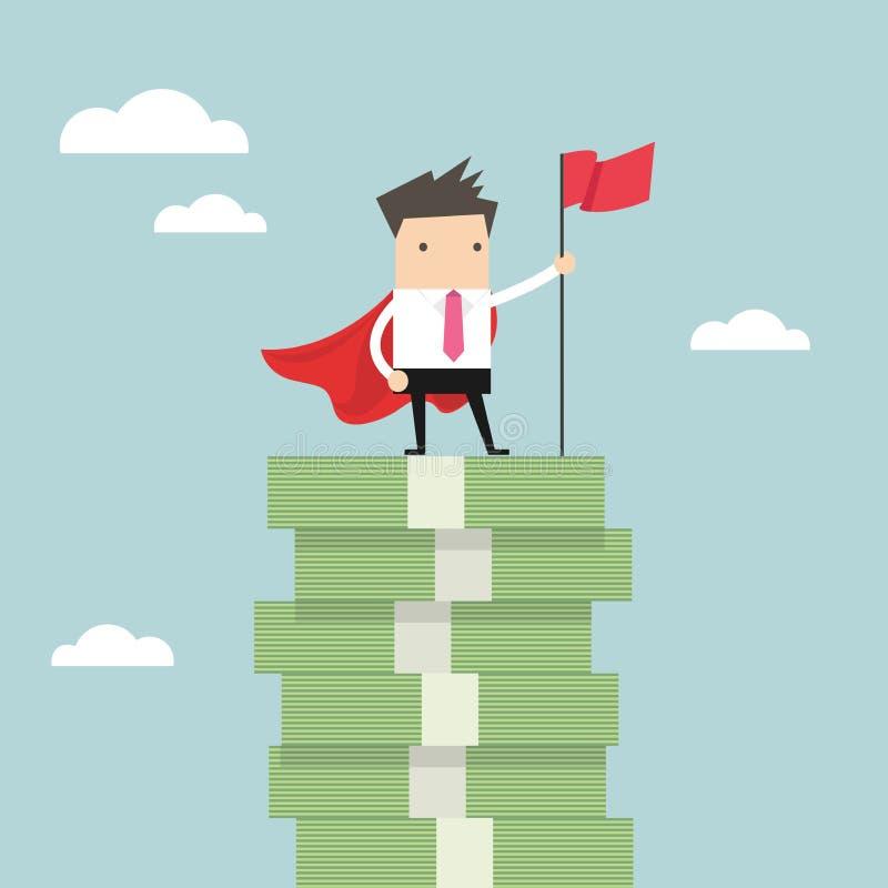 Biznesmen z zwycięzcami zaznacza pozycję na pieniędzy schodkach ilustracja wektor