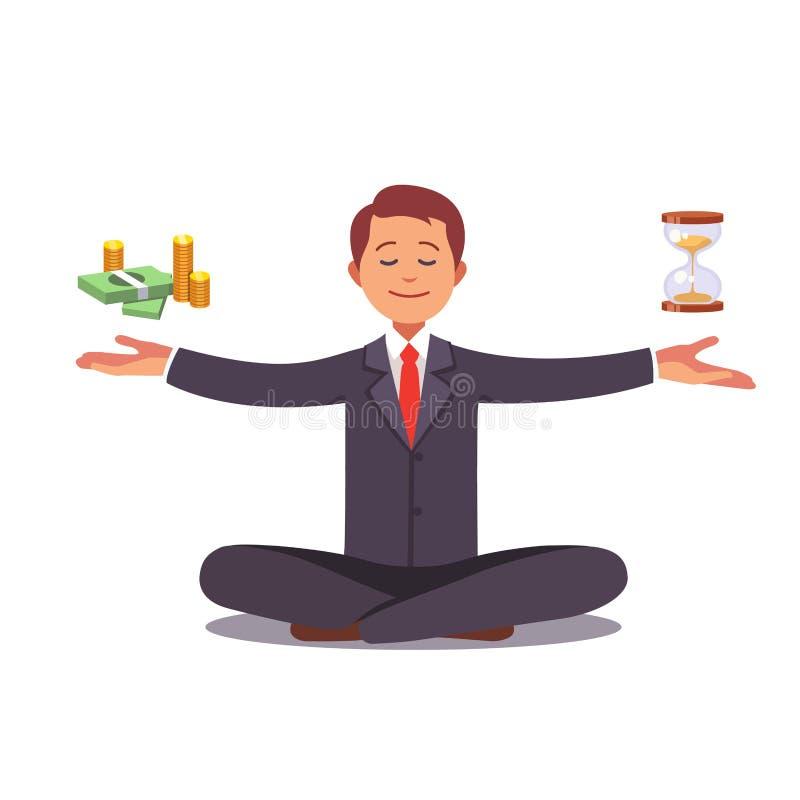 Biznesmen zakłada jego równowagę z czasem i pieniądze ilustracja wektor