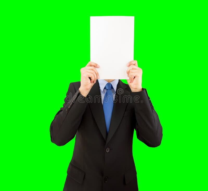 Biznesmen zakrywa jego twarz obraz stock