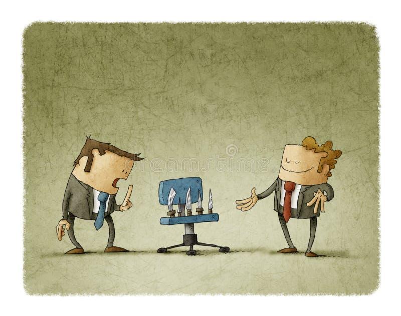 Biznesmen zaprasza inny siedzieć w krześle z nożami ilustracji