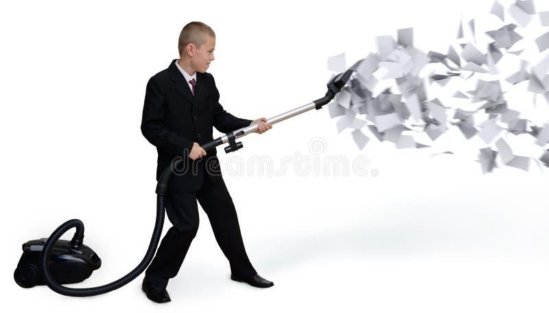Biznesmen zbiera papierowych dokumenty zdjęcie stock