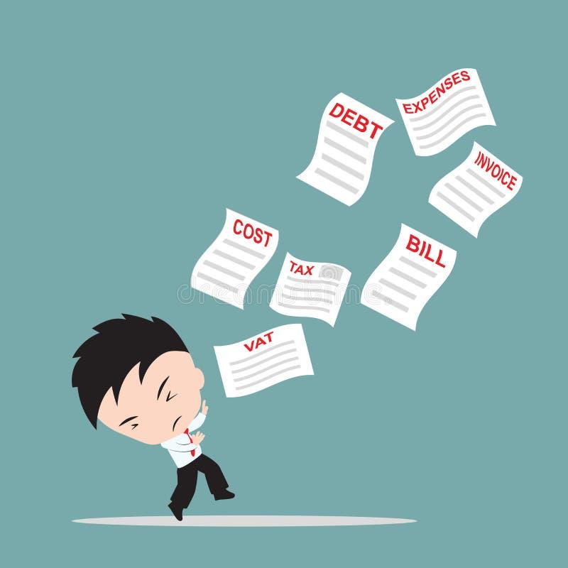 Biznesmen, zmartwienie i boi się listę rachunki lub fakturuje dla zapłaty, puszek od nieba, pieniężny pojęcie ilustracji