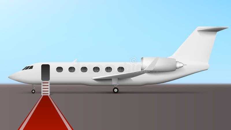 Biznesmena abordaż W Wykonawczego samolotu Korporacyjnym strumieniu ilustracji