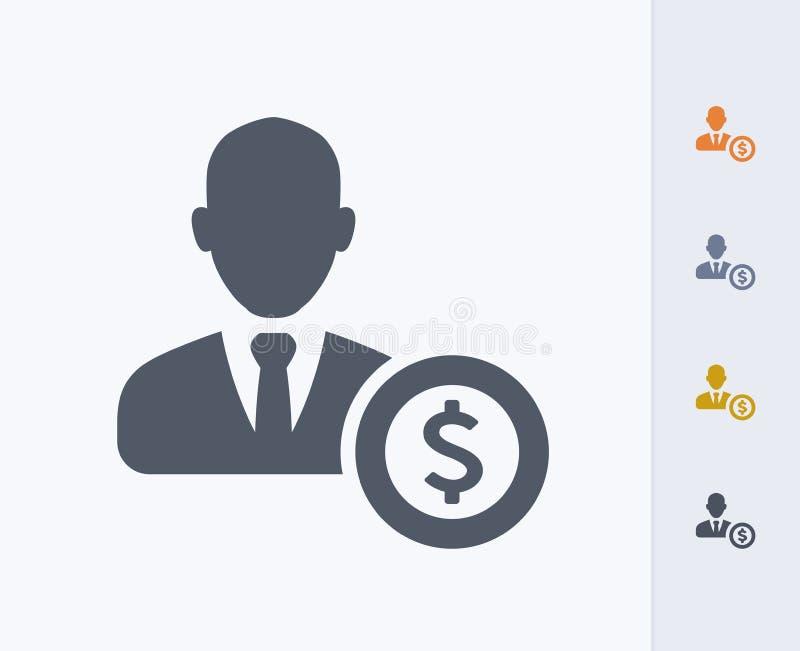 Biznesmena Avatar & dolar - węgiel ikony obraz royalty free
