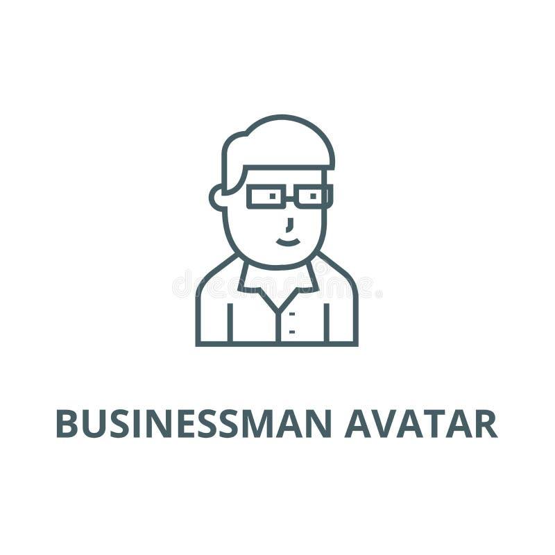 Biznesmena avatar z szkłami wykłada ikonę, wektor Biznesmena avatar z szkło konturu znakiem, pojęcie symbol, mieszkanie royalty ilustracja