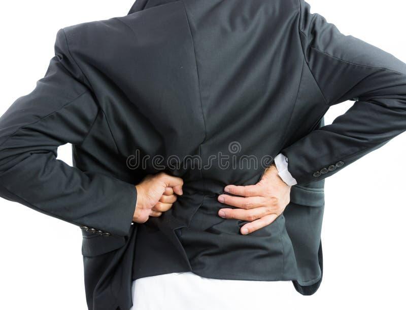 Biznesmena backache odizolowywa obraz stock
