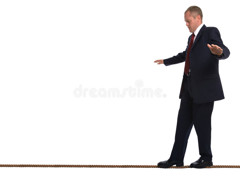 biznesmena balansowanie na linii, zdjęcie royalty free